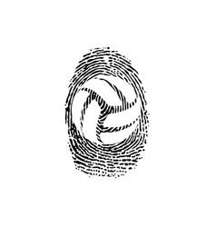 fingerprint outline volleyball vector image
