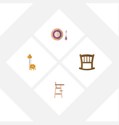 flat baby set of infant cot toy baby plate and vector image