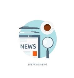 Flat background Online news vector image