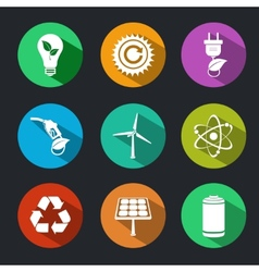 Flat Energy and Ecology Icons Set vector image