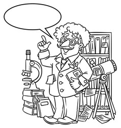 funny scientist or inventor with balloon for text vector image