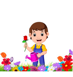 Gardener holding flower and watering can vector