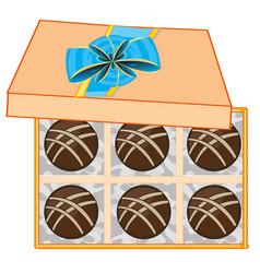 Gift box with chocolate sweetmeat decorative vector