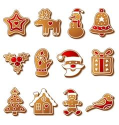 Gingerbread christmas cookies set vector image