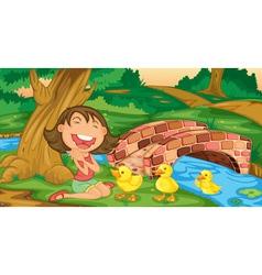 Girl meets ducklings vector