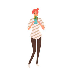 Girl with cactus in pot isolated female flat style vector
