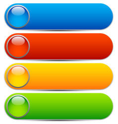 Glossy buttons banners rounded rectangle shapes vector