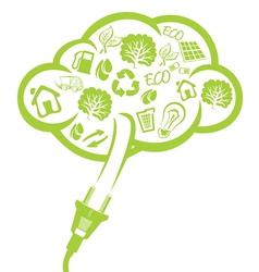 Green plug - electric power concept vector