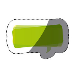 Green square chat bubble icon vector