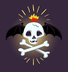 halloween skull and bones design pic vector image