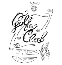 hand drawn lined graphic of golf vector image