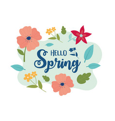 happy spring flowers leaves foliage decoration vector image