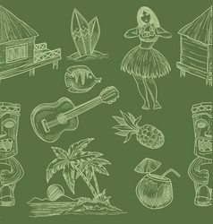 hawaii seamless pattern with symbols and cultural vector image