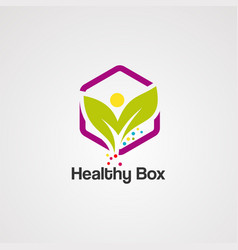 healthy box logo icon element and template vector image