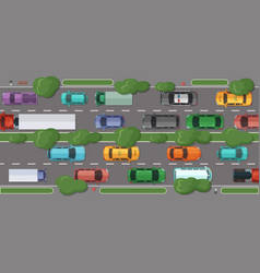 Highway with a lot of cars and vehicles vector