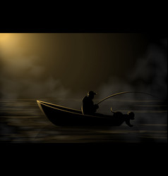 Image a fisherman on a boat with a dog vector