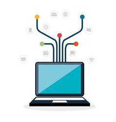 laptop with internet communication vector image