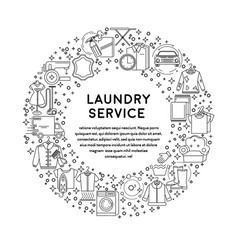 Laundry service line icons on emblem or poster vector