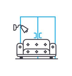 living room linear icon concept living room line vector image