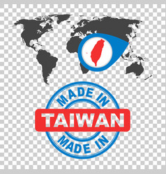 made in taiwan stamp world map with red country vector image