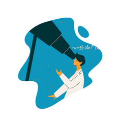 male scientist astronomer character wearing white vector image