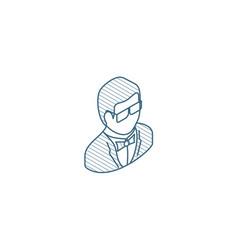 Man in tuxedo avatar isometric icon 3d line art vector