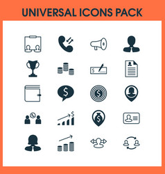 management icons set with pile call speaker and vector image