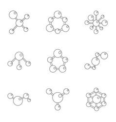 Molecular structure icons set cartoon style vector
