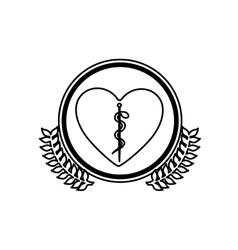 Monochrome sticker of heart with health symbol vector