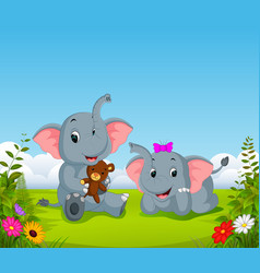 natural view with the two elephant playing vector image