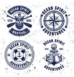 nautical set vintage emblems or badges vector image