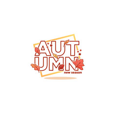 new season autumn lettering composition in doodle vector image