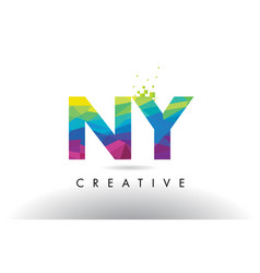 Ny n y colorful letter origami triangles design vector