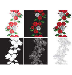 Pattern seamless flowers dahlias vector