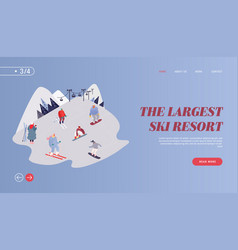 people skiing snowboarding website landing page vector image