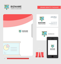 presentation chart business logo file cover vector image