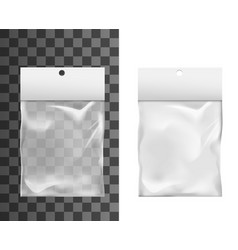 realistic mockup plastic bag pouch with hole vector image