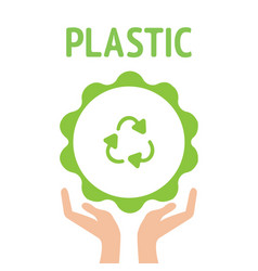 recycling symbol green vector image