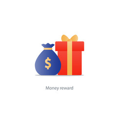 Red gift box and money bag reward concept bonus vector