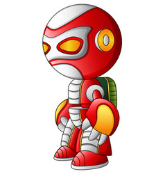 Red robot cartoon isolated on white background vector