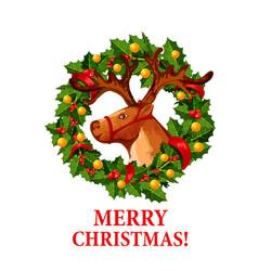 Santa reindeer with christmas holly wreath icon vector