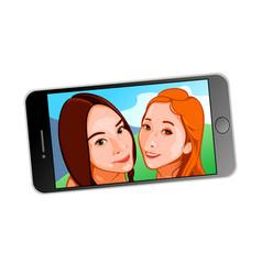 Selfie girls on screen vector