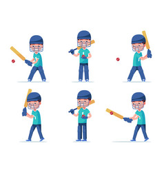 set boy cricket player playing with a ball vector image