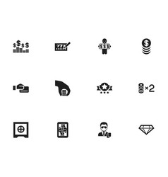 set of 12 editable gambling icons includes vector image