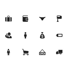 Set of 12 editable trade icons includes symbols vector