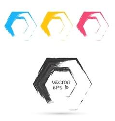 Set of hand color hexagones vector