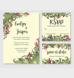 Set wedding invitation greeting card save vector