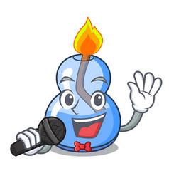 Singing alcohol burner mascot cartoon vector