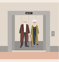 smiling old man and woman with canes standing in vector image