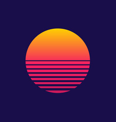 sunset retro sun 80s or 90s background vector image